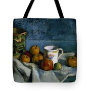 Still Life with Apples Cup and Pitcher Tote Bag by Paul Cezanne