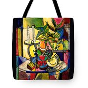 Still Life with Fruit Candles and Bamboo Tote Bag by Everett Spruill