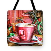 Still Life With Green Dutch Bike Tote Bag by Mark Howard Jones
