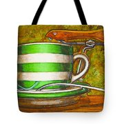Still life with green stripes and saddle  Tote Bag by Mark Howard Jones