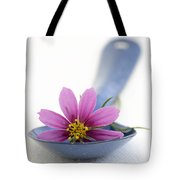 Still Life With Pink Flower On A Blue Spoon Tote Bag by Frank Tschakert