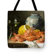 Still Life With Prawns And Lemon Tote Bag by Edward Ladell