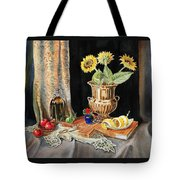 Still Life With Sunflowers Lemon Apples And Geranium  Tote Bag by Irina Sztukowski
