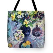 Still Life With Turquoise Bottle Tote Bag by Sylvia Paul