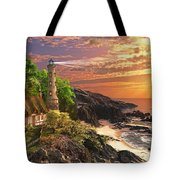 Stoney Cove Lighthouse Tote Bag by Dominic Davison