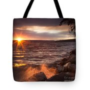 Stormy Sunrise Tote Bag by Michele Steffey