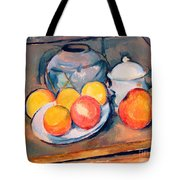 Straw Covered Vase Sugar Bowl And Apples Tote Bag by Paul Cezanne
