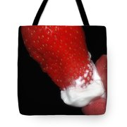 Strawberry Lips And Cream Tote Bag by Joann Vitali