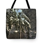 Street Lamp In The Snow Tote Bag by Benanne Stiens