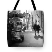Street Vendor And Stairs In New York City Tote Bag by Dan Sproul