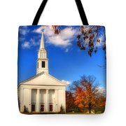 Sturbridge Church In Autumn Tote Bag by Joann Vitali