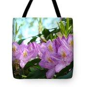 Summer Rhodies Flowers Purple Floral art Prints Tote Bag by Baslee Troutman
