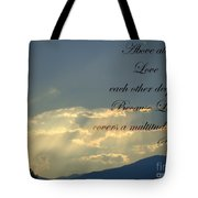 Sun Rays 1 Peter Chapter 4 Verse 8 Tote Bag by Jannice Walker