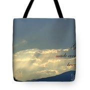 Sun Rays Ecclesiastes Chapter 3 Verse 11 Tote Bag by Jannice Walker