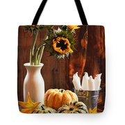 Sunflower And Gourds Still Life Tote Bag by Amanda Elwell