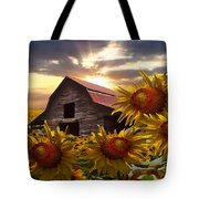 Sunflower Dance Tote Bag by Debra and Dave Vanderlaan