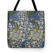 Sunflowers On Blue Pattern Tote Bag by William Morris