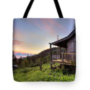 Sunrise At Mt Leconte Tote Bag by Debra and Dave Vanderlaan