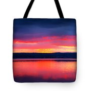 Sunrise in Cayuga Lake Ithaca New York Panoramic Photography Tote Bag by Paul Ge