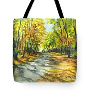 Sunrise On A Shady Autumn Lane Tote Bag by Carol Wisniewski