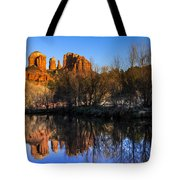 Sunset At Red Rocks Crossing In Sedona Az Tote Bag by Teri Virbickis