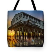 Sunset At The Pier Tote Bag by Susan Candelario