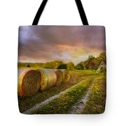Sunset Farm Tote Bag by Debra and Dave Vanderlaan