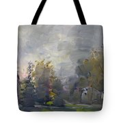 Sunset In A Foggy Fall Day Tote Bag by Ylli Haruni