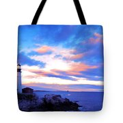Sunset In Fork Williams Lighthouse Park Portland Maine State Tote Bag by Paul Ge