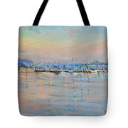 Sunset In Piermont Harbor Ny Tote Bag by Ylli Haruni