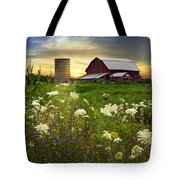 Sunset Lace Pastures Tote Bag by Debra and Dave Vanderlaan