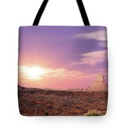 Sunset Over Mountain Valley Tote Bag by Aged Pixel