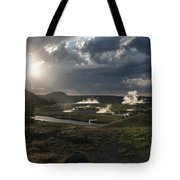 Sunset Over The Firehole River - Yellowstone Tote Bag by Sandra Bronstein