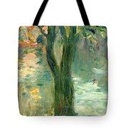 Sunset Over The Lake Bois De Boulogne Tote Bag by Berthe Morisot