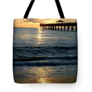 Sunset Pier Tote Bag by Carey Chen