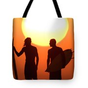 Sunset Surfers Tote Bag by Sean Davey