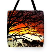 Sunset Tree Silhouette Tote Bag by The Creative Minds Art and Photography