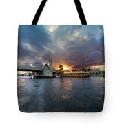 Sunset Waterway Panorama Tote Bag by Debra and Dave Vanderlaan