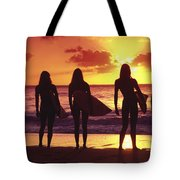 Surfer Girl Silhouettes Tote Bag by Sean Davey