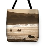Surfers On Beach 02 Tote Bag by Pixel Chimp