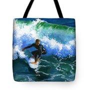 Surfin' Huntington Beach Pier Tote Bag by Alice Leggett