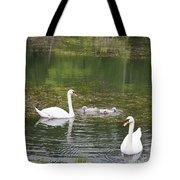 Swan Family Squared Tote Bag by Teresa Mucha