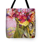 Sweet Peas With Cherries And Strawberries Tote Bag by Joan Thewsey