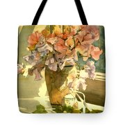 Sweetpea On The Windowsill Tote Bag by Julia Rowntree