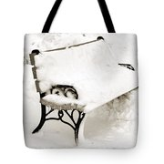 Take A Seat  And Chill Out - Park Bench - Winter - Snow Storm Bw Tote Bag by Andee Design
