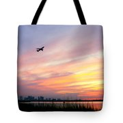 Take Off At Sunset In 1984 Tote Bag by Michelle Wiarda