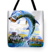 Tarpon Leap Tote Bag by Carey Chen