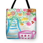 Tea And Fresh Flowers- Whimsical Floral Painting Tote Bag by Linda Woods
