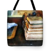 Teacher - Old School Books And Slate Tote Bag by Susan Savad