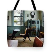 Teacher - One Room Schoolhouse With Clock Tote Bag by Susan Savad